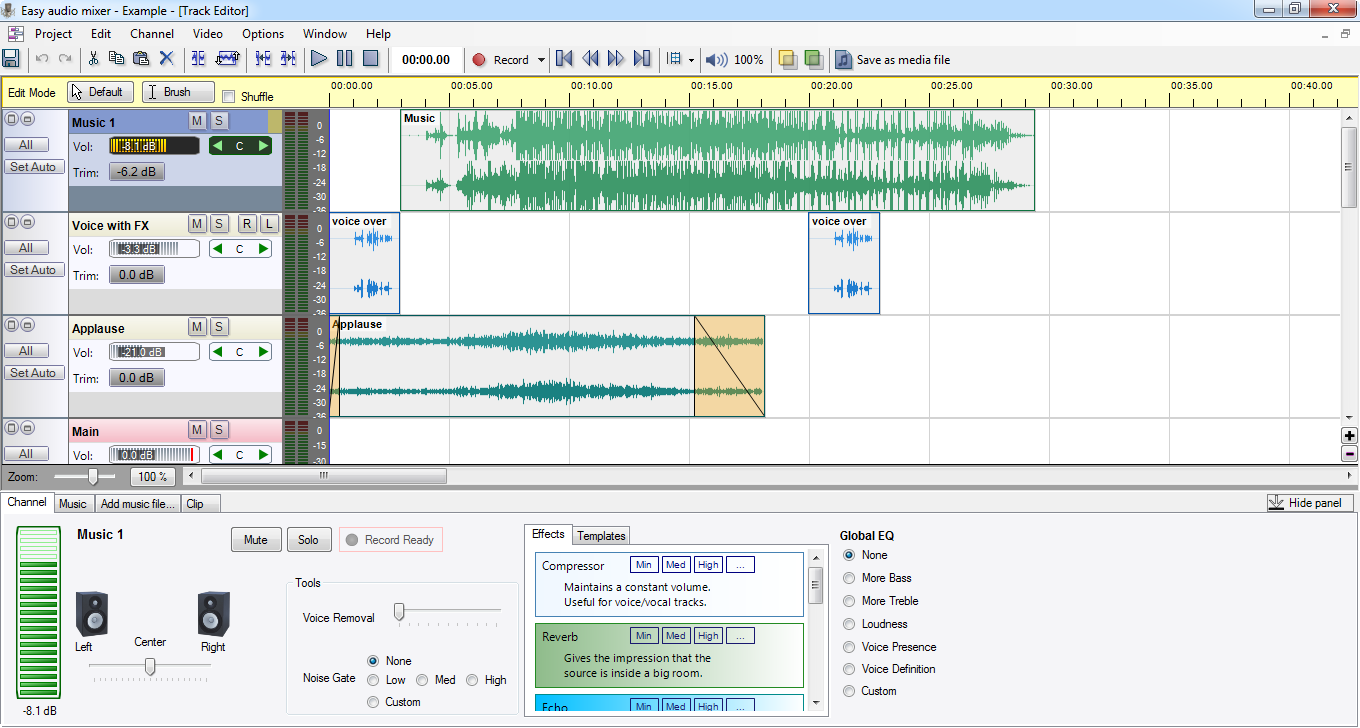 Click to view Easy audio mixer LITE 2.3.2 screenshot